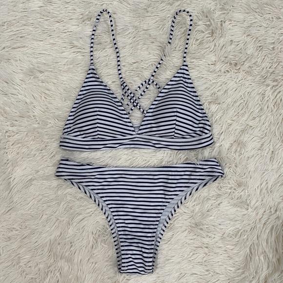 NWOT Boutique Striped Bikini